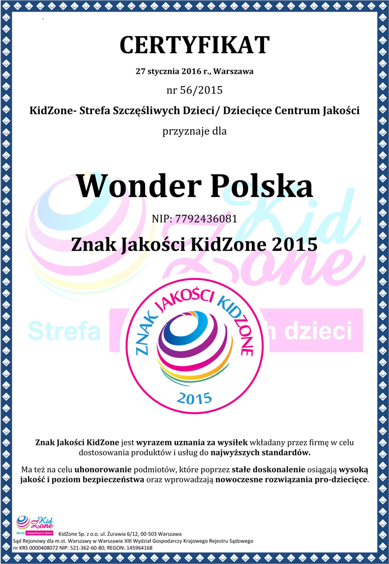 Certyfikat KidZone 2015