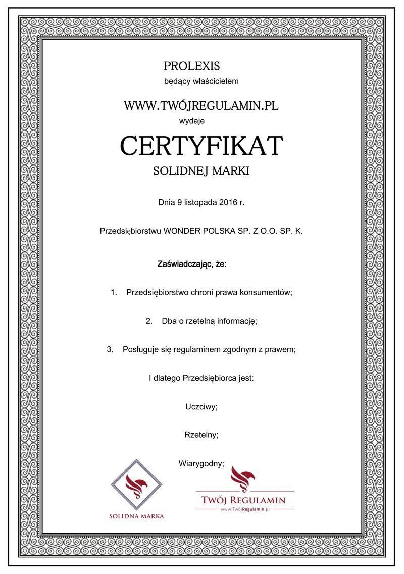 Certyfikat Solidnej Marki